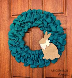 DIY Burlap Ribbon Easter Wreath with Bunny Silhouette.