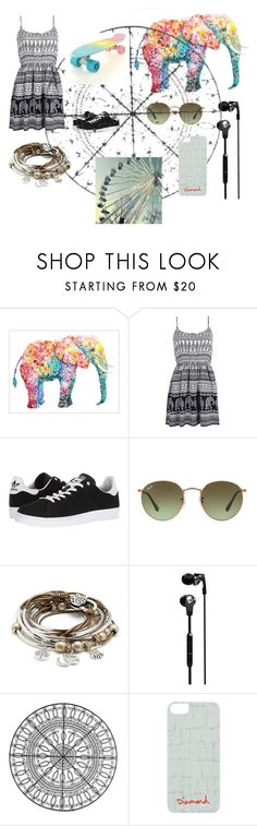 """""""Skater vibes"""" by glennaprior ❤ liked on Polyvore featuring Boohoo, adidas, Ray-Ban, Lizzy James, Skullcandy, Threshold and Diamond Supply Co."""