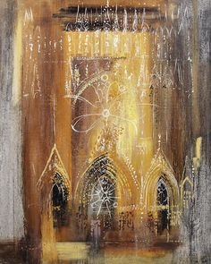 John Piper British / Reims Cathedral, Marne, France, painted oil on canvas laid on panel Reims Cathedral, Edward Hopper, John Piper Artist, Cityscape Art, A Level Art, Art Nouveau, Street Art, Chapelle, Urban Landscape