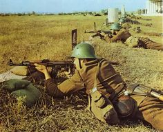Soldiers of the Bulgarian People`s Army on training.