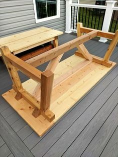 DIY- Farmhouse table build truss beam table outdoor table woodworking project table construction how to build an outdoor farmhouse table Ana White plans Restoration Hardware inspired knockoff farmhouse truss table assembled Outdoor Farmhouse Table, Farmhouse Table Plans, Diy Outdoor Table, Patio Table, Farmhouse Style, Farmhouse Decor, Diy Table, White Farmhouse, Farm Table Plans