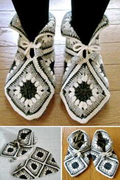 Granny Squares: Over 25 Creative Ways to Crochet the Classic Pattern fast fit an. : Granny Squares: Over 25 Creative Ways to Crochet the Classic Pattern fast fit and beautiful slippers Source … M… Easy Crochet Slippers, Fingerless Gloves Crochet Pattern, Crochet Slipper Pattern, Crochet Boots, Granny Square Crochet Pattern, Crochet Squares, Crochet Granny, Knit Crochet, Crochet Patterns