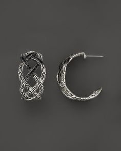 John Hardy Classic Chain Silver Lava Woven Braided Saddle Hoop Earrings with Black Sapphire - Bloomingdale's Exclusive