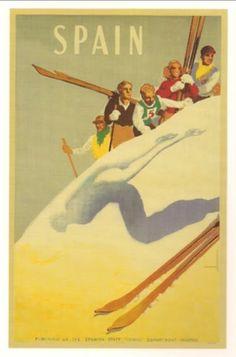Poster Print Wall Art Print entitled Espangne, Ski,Vintage Poster, by Morell Ski Vintage, Party Vintage, Vintage Ski Posters, Look Vintage, Vintage Signs, Vintage Stuff, Vail Colorado, Ski Lodge Decor, Wall Art Prints