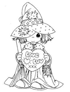 I LOVE Precious Moments coloring pages! Precious moments witch - free coloring pages Halloween Coloring Pages, Coloring Pages To Print, Free Printable Coloring Pages, Coloring Book Pages, Coloring Pages For Kids, Kids Coloring, Precious Moments Coloring Pages, Copics, Digital Stamps