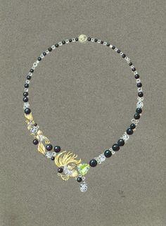 Tony FURION : Collier 'Poisson' jewellery rendering dessin collier de perles joaillerie