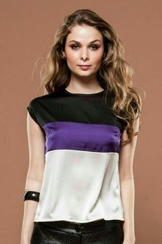 Love the tri-colour, but those darts look odd Fashion Line, Women's Summer Fashion, Evolution Of Fashion, Casual Outfits, Fashion Outfits, Couture Tops, Beautiful Blouses, Blouse Styles, Lace Tops