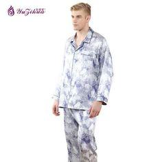 c8d9fd0fa59 New Men Pajamas Sets Long Sleeve Comfortable Men s Sleepwear V Neck Smooth  Male Clothes Set Soft Pajama Sets Men Clothing