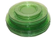 Green Depression Glass Plates, Set of 14 on OneKingsLane.com