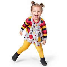Love this! at Polarn O. Pyret UK & Ireland Bold and Bright #polarnopyretuk #qualitychildrensclothes #colourfulkidsclothes <p>It's non stop fun for Bianca in a bright striped cardigan and a flared spot print top with pockets. Plain full length leggings in organic cotton contrast perfectly and her Kavat boots are sturdy and hardwearing.</p>