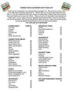 Scavenger hunt list to use for getting food for people who need it. Pay it forward donations Great for company office activity team building idea or exercise Mutual Activities, Youth Group Activities, Activities For Adults, Canned Food Drive, Non Perishable Food Items, Little Free Pantry, Scavenger Hunt List, Personal Progress, Family Game Night