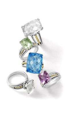 White and blue topaz with green and violet amethyst rings. LAGOS Jewelry | Prism collection.