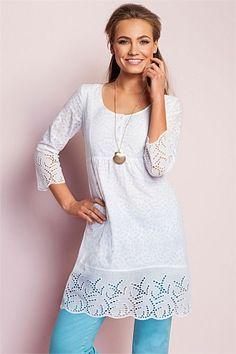 Dresses - Capture Burnout Broderie Tunic Dress - EziBuy Australia