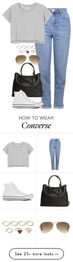 """""""Untitled #4800"""" by eleanorsclosettt on Polyvore featuring moda, Topshop, Monki, Prada, Ray-Ban, Forever 21 y Converse"""