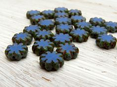 Cornflower Daisies - 9mm table cut sky blue streak Picasso finish flowers (10),  flower beads, blue czech glass beads