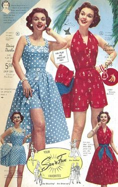 """Playclothes sundress shorts skirt blue white dots red floral halter likesoldclothes: """"""""Florida Fashions"""" catalog, 1957 """""""