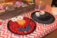 Elmo and Cookie Monster fruit trays