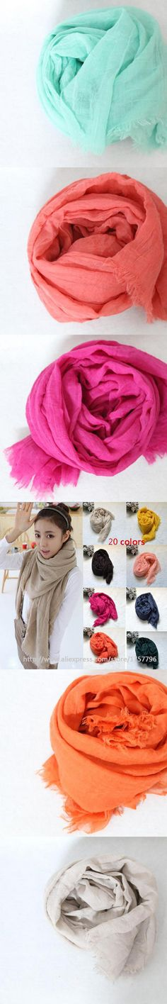 free shipping Cheapest Winter Women Fashion Solid Cotton Voile Warm Soft Candy Scarf Shawl Cape 20 Colors Available