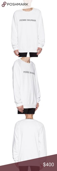BALMAIN Men's White Logo-detailed CottonSweatshirt 100% Cotton NEW Never Worn before Men's White Logo-detailed Cotton Sweatshirt. Model on Picture wears size 50 which is exactly the one sold here. Fits a size L and XL. SOLD OUT online Pierre Balmain Shirts Sweatshirts & Hoodies