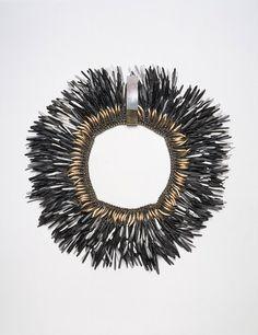 Necklace |  Tone Vigeland, 1983. Made of hammered black iron nails.