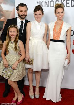 A family affair: Judd Apatow and Leslie Mann were joined by their daughters Maude and Iris, who also star in the film, to the premiere of This Is 40 in Hollywood on Wednesday night