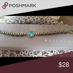 SOLD!! Silpada Aqua Gem Bracelet-SOLD So cute and colorful on! Cord, Swarovski crystals and brass. Sold on another site! Silpada Jewelry Bracelets