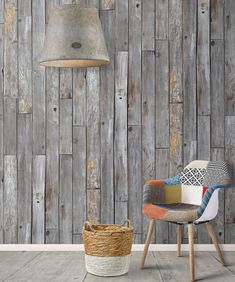 or instant warmth and texture within your scheme, create a natural-looking feature wall with this rustic wood effect wallpaper. Wood Effect Wallpaper, Brick Wallpaper, Grey Wallpaper, Office Wallpaper, Wallpaper Decor, Rustic Wallpaper, Wood Panel Walls, Wood Paneling, Wood Planks