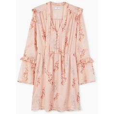 Floral Ruffled Dress ($65) ❤ liked on Polyvore featuring dresses, bell sleeve dress, sheer dress, ruffle dress, pink dress and frilly dresses