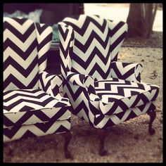 Chevron Wingback Chairs.