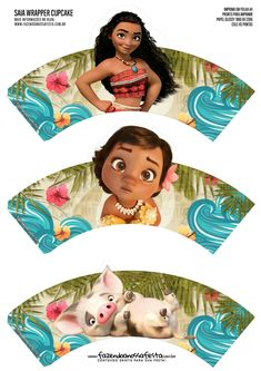 Moana Party Free Printable Wrappers and Toppers for Cupcakes. Moana Theme Birthday, Moana Themed Party, Moana Party, 6th Birthday Parties, Cupcakes Moana, Moana Cupcake Toppers, Cupcake Wrappers, Aloha Party, Fiesta Party