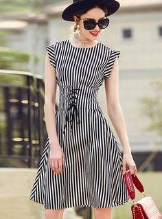 Stylish Striped Belt Sleeveless O-neck Skater Dress