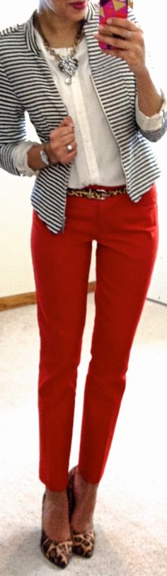 Striped blazer, red pants, leopard print accessories. This is fab. Absolutely fab.