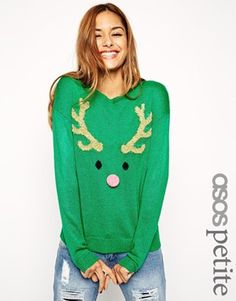 ASOS PETITE Christmas Jumper with Reindeer Face and Pom Pom