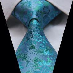 Aqua Floral Necktie