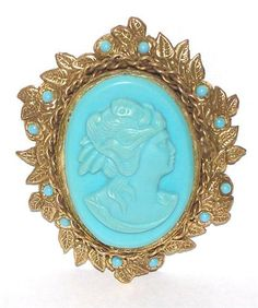 Ormolu Style Turquoise and Brass Cameo Pin