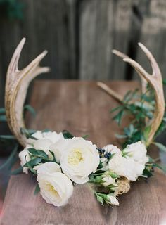 Floral Antlers - Beautiful center piece or table decoration for an outdoor or rustic wedding