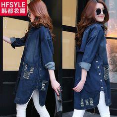 Вебмастерам в Европе длинный рукав женщин плюс размер джинсовая куртка девочек осень приливов отверстие джинсовая куртка расслабленной корейской версии из категории Женские летние куртки: цена, фото, отзывы, доставка – купить в интернет-магазине Купинатао