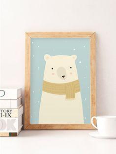 White bear Bear nursery print Nursery decor Nursery print