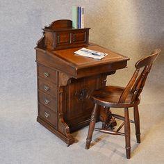 Antique Davenport Desk Victorian English Oak Pedestal Writing Study Table c1870