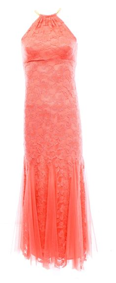 Xscape NEW Pink Coral Women's Size 2 Lace Tulle Halter Sheath Dress $209
