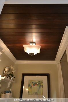 Hallway Bathroom Remodel: Before & After DIY stained wood slat ceiling made from thin plywood cut into strips Wood Slat Ceiling, Wooden Ceilings, Wood Slats, Ceiling Decor, Ceiling Design, Diy Wall Decor, Home Decor, Basement Ceilings, Wall Decorations