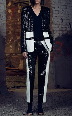 Vertical Sequin  Embroidered Blazer by SALLY LAPOINTE for Preorder on Moda Operandi