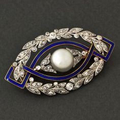 "Belle Epoque diamond, enamel and natural pearl brooch. Signed ""Cartier Paris"" - Circa 1890's!"