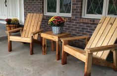 Set of Adirondack chairs and a side table made from cedar.