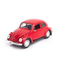 Miniatura Fusca Volkswagen Vermelho - Maisto 1:24 - Machine Cult | Loja online especializada em camisetas, miniaturas, quadros, placas e decoração temática de carros, motos e bikes