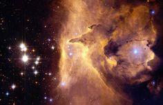 Pismis 24L'amas d'étoiles de Pismis 24 se trouve au cœur de la nébuleuse NGC 6357, dans la constellation du Scorpion, à environ 8 000 années-lumière de la Terre. L'épaisseur des nuages de gaz et l'intensité des rayons ultra-violets qui s'en dégagent rendent l'étude de cet amas stellaire assez complexe. C'est au sein de Pismis 24 que se trouve Pismis 24-1, une étoile immense qui, avec une masse 300 fois supérieure à celle de notre Soleil, pourrait être la plus grande étoile de l'univers…