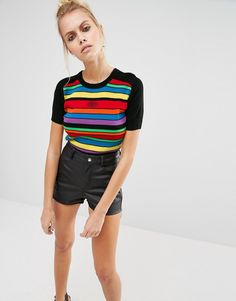 UNIF+Rainbow+Stripe+Cropped+Knit+Top
