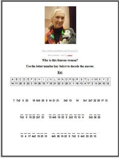 Free cryptogram activity about Jane Goodall! Great way to learn biographical facts and practice multiplication facts simultaneously!