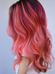 52 Popular Pink Hair Colors for Long Wavy Hair in Browse this post to see the stunning ideas of pink hair colors for long wavy and straight hairstyles. Just visit here and get ready by these modern shades of pink hair color to get wowed hair colors Cute Hair Colors, Pretty Hair Color, Hair Color Pink, Hair Dye Colors, Bright Pink Hair, Orange And Pink Hair, Long Pink Hair, Pink Hair Dye, Blue Hair