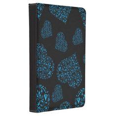 Blue Ornate Hearts on Black Kindle 4 Case